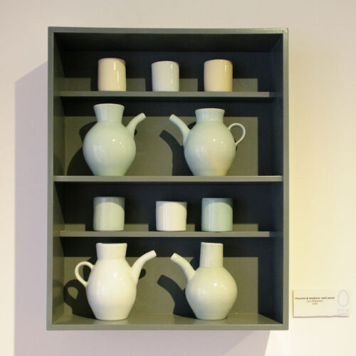 BREAKFAST, DINNER & TEA 2012 Beakers & pourers wall piece by Gus Mabeslson blue egg gallery wexford
