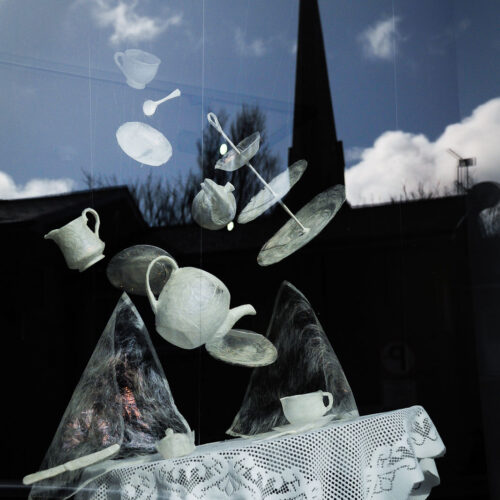 BREAKFAST, DINNER & TEA 2012 Window installation by Lesley Stothers blue egg gallery wexford