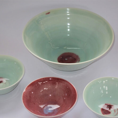 Juliet Ball Small porcelain bowls and salad bowl blue egg gallery wexford