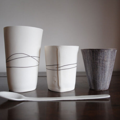 Justine Allison A selection of 3 porcelain beakers blue egg gallery wexford
