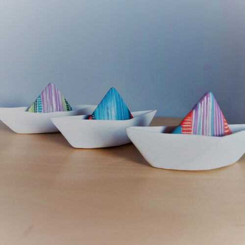 Michele Hannan A trio of porcelain boats blue egg gallery wexford