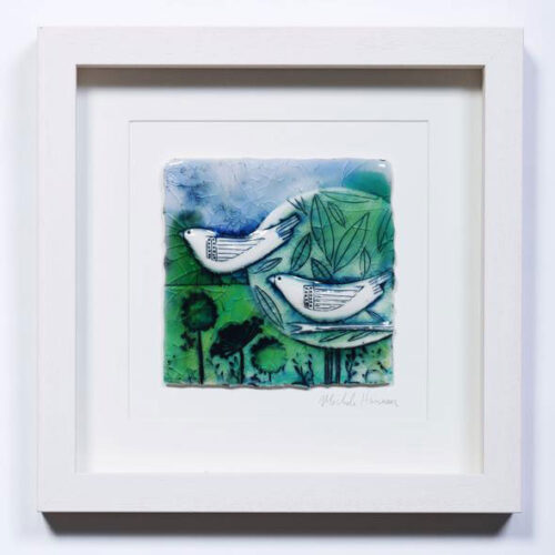 Michele Hannan Love Birds Framed ceramic panel blue egg gallery wexford