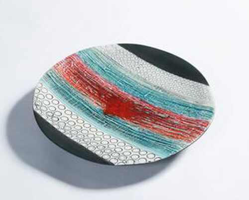 Michele Hannan Red horizon wall plate blue egg gallery wexford