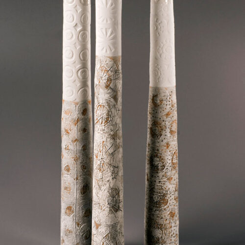 Petra Bittl Stoneware and porcelain tall bottle vases blue egg gallery wexford