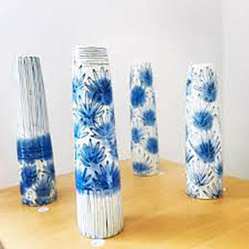 Petra Bittl decorated vases blue egg gallery wexford