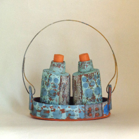 SPRING SHOW 2015 Decorated ceramic condiment set by Maria Connolly blue egg gallery wexford