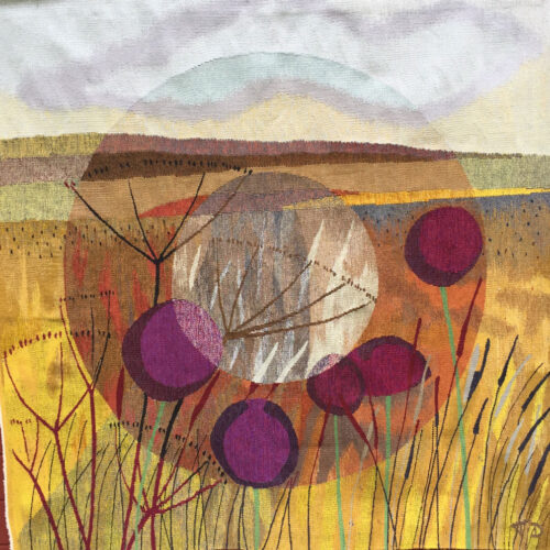 Terry Dunne Focus Refocus-Woven tapestry 150cms square blue egg gallery wexford