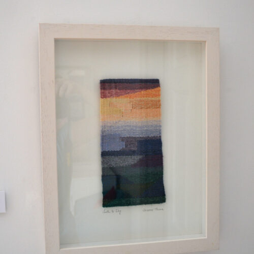 WOVEN INTO MEMORY 2013 Earth to sky- tapestry by Frances Crowe blue egg gallery wexford