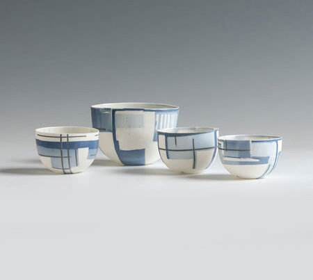 Anne Butler blue and white Parian porcelain bowls blue egg gallery wexford