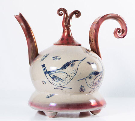 TEAPOTS 2016 Bird lustre teapot by Diane McCormick Photo by Grace Hall blue egg gallery wexford